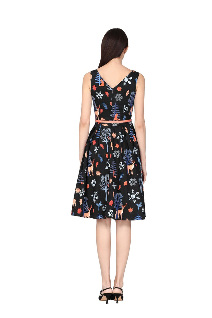 Black Night Forest Boat Neck A Line Cotton Dress with Pockets