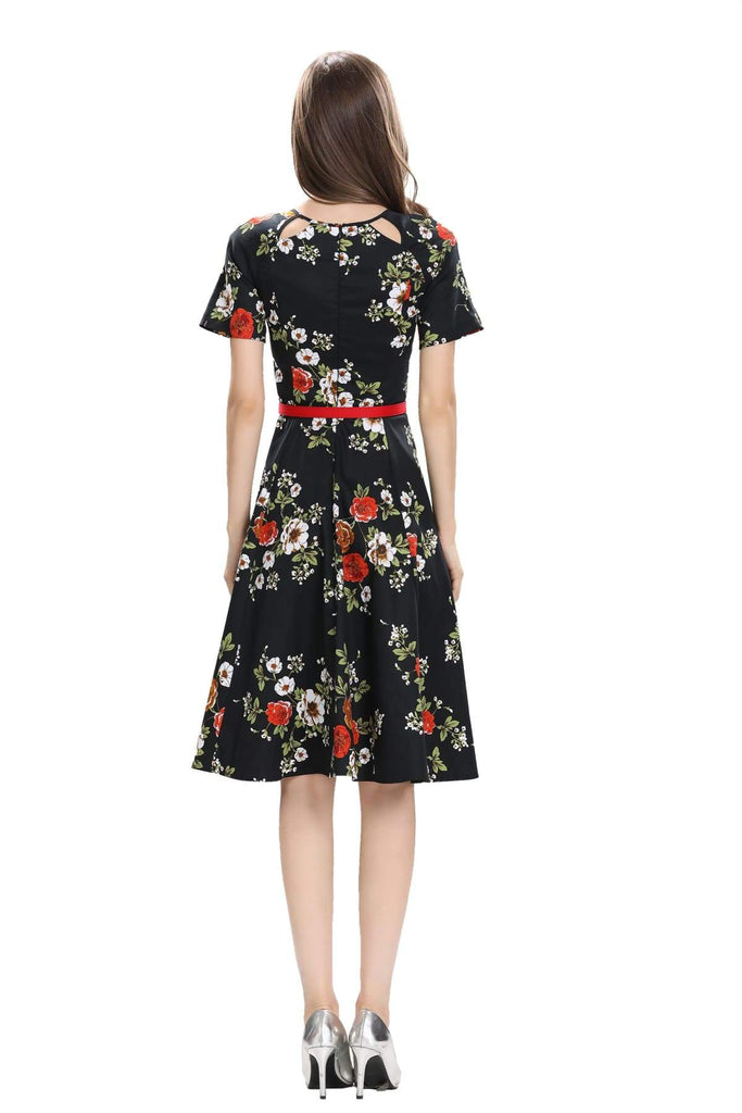 Black Scoop Key Hole Detail Neckline with Red and White Florals Vintage Dress Australia 9352589009754