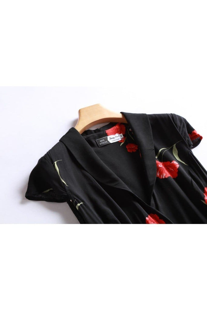 Black Shawl Collared Wrap Dress with Gorgeous Red Peony and Pockets Vintage Dress Australia 9352589012396