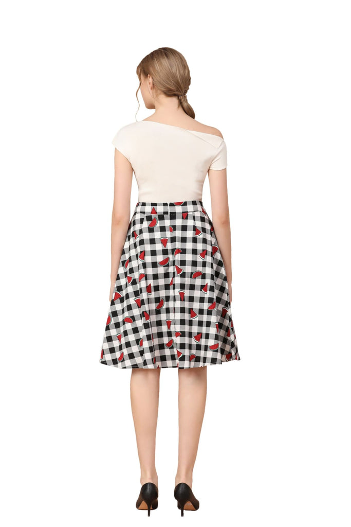 Black and White Gingham A-Line Watermelon Cotton Skirt with Pockets Vintage Dress Australia 9352589014048