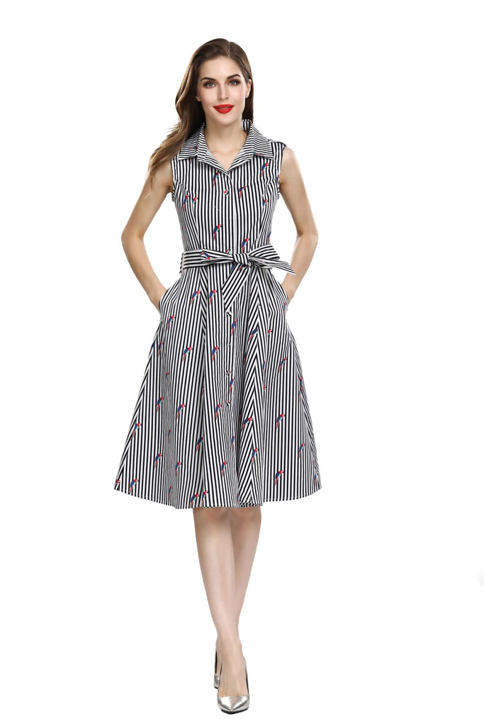 Black and White Stripe Shirt Dress with Blue and Red Macaws with Pockets
