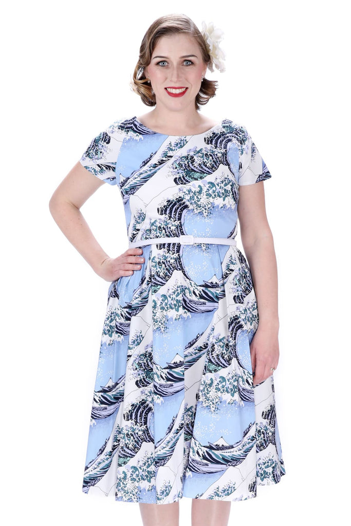 Blue Great Waves Scoop Neck Vintage Dress