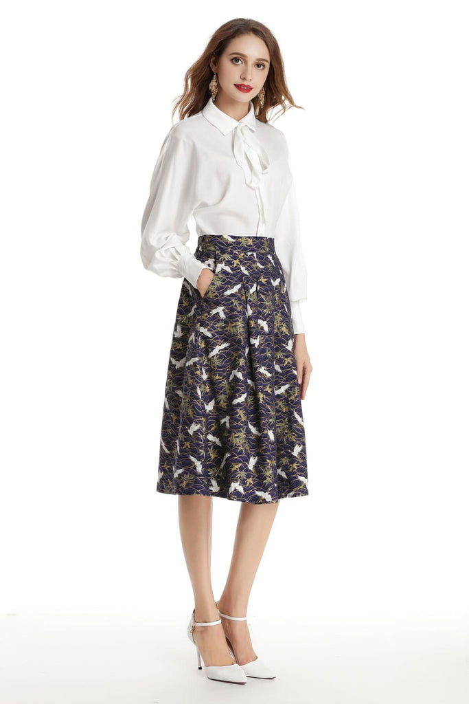 Blue with White Japanese Cranes A Line Skirt