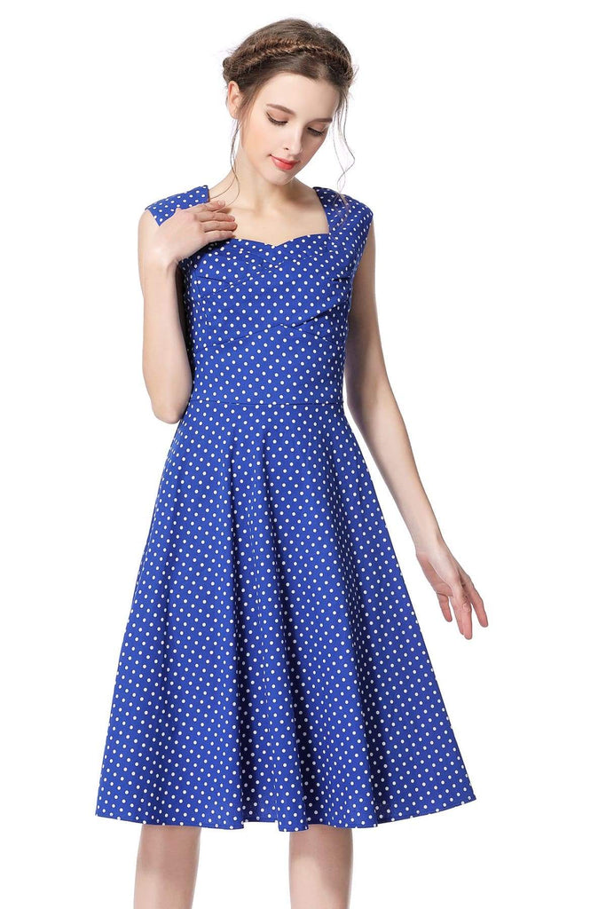 Blue & White Polka Dot Scoop Neck Vintage Swing Dress Vintage Dress Australia 9352589005992