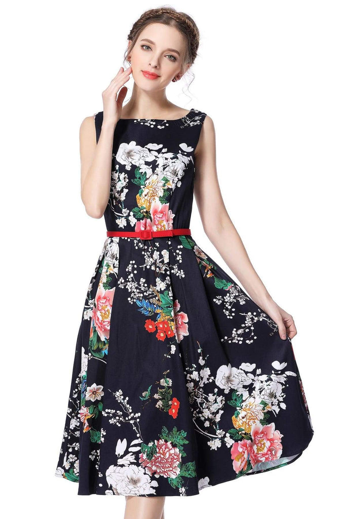 Boat Neck Navy Peony Garden Cotton Vintage Dress