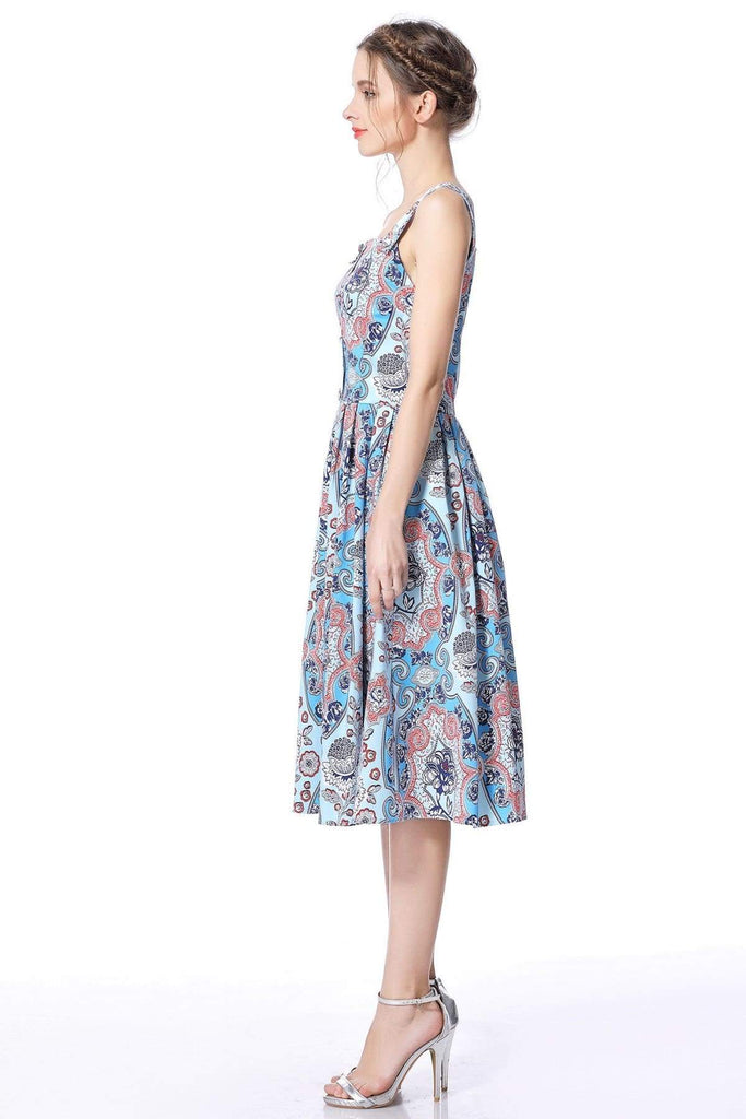 Bright Paisley Strap Dress with Pockets Swing Dress