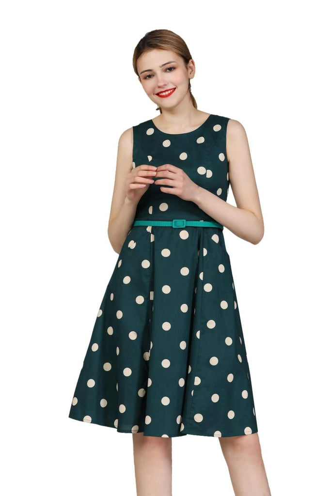 Classic Green Scoop Neck with Cream Polkadot Cotton A Line Dress with Pockets