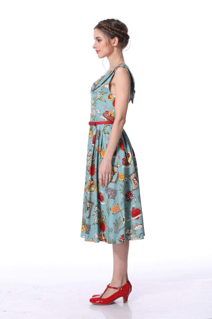 Cross Neck Frida Print Vintage Swing Dress