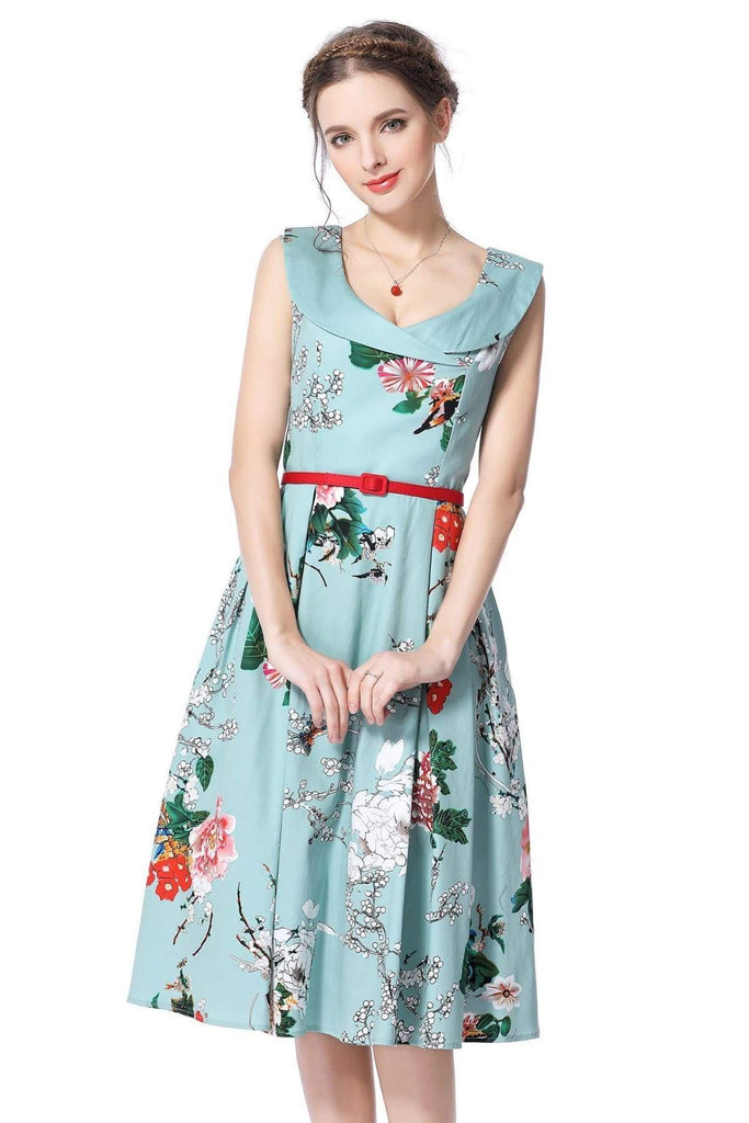 Cross Neck Mint Peony Garden Vintage Dress Vintage Dress Australia 9352589001017