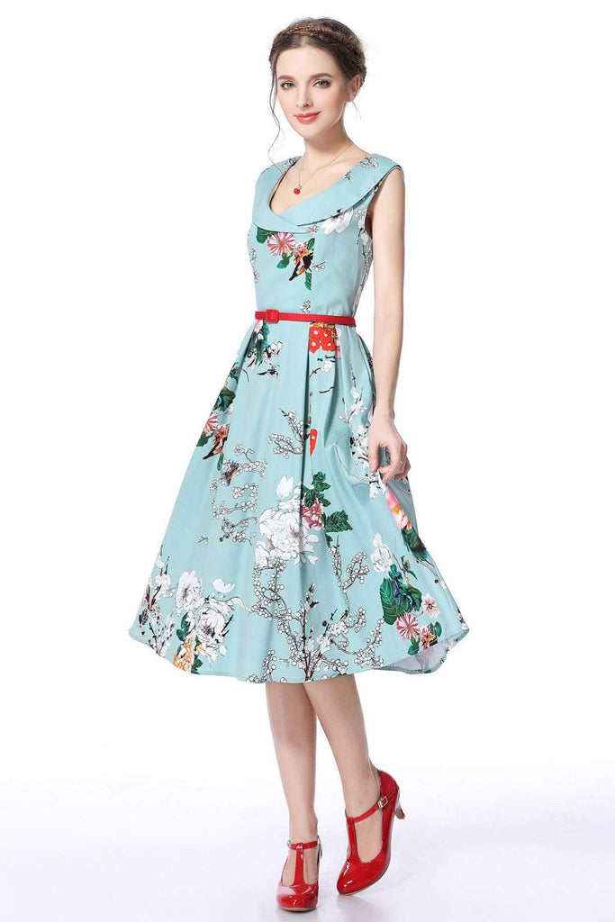 Cross Neck Mint Peony Garden Vintage Dress Vintage Dress Australia 9352589001000