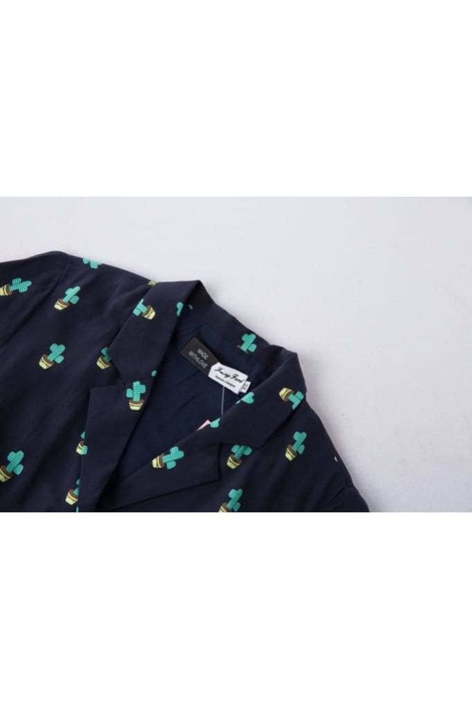 Cute Cactus & Dark Navy V Neck Collared Dress