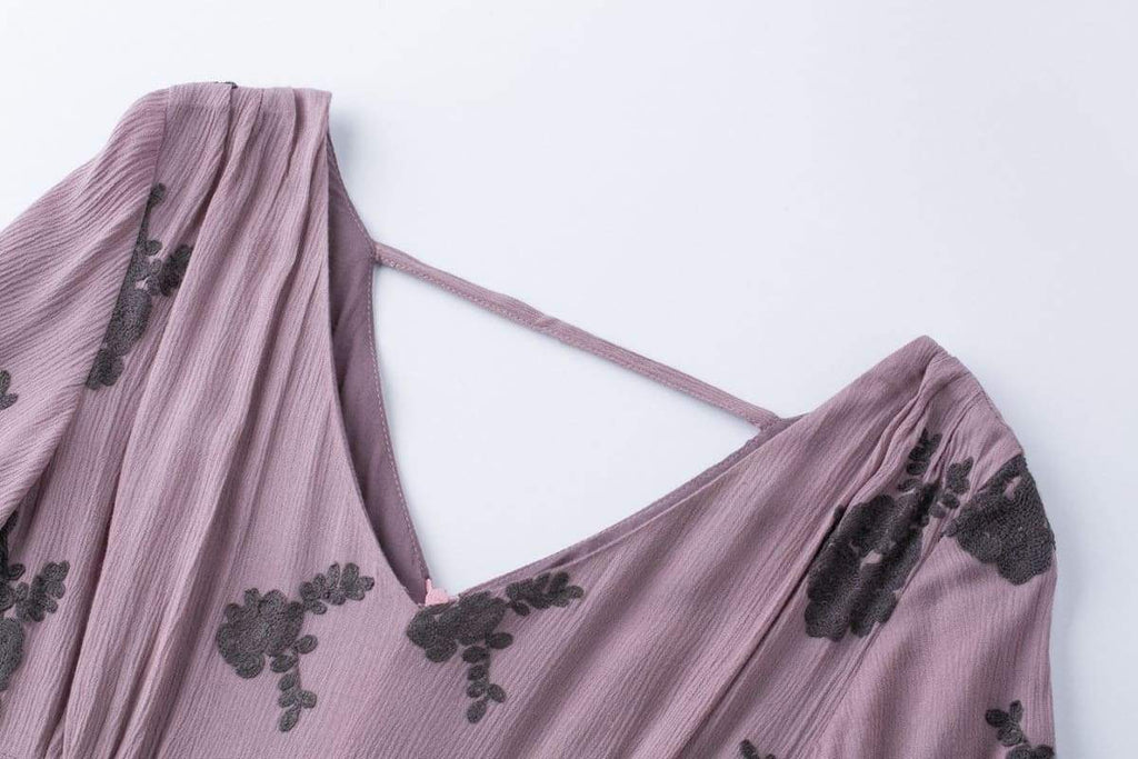Dark Lavender Lace Embroidery V Neck Vintage Swing Dress