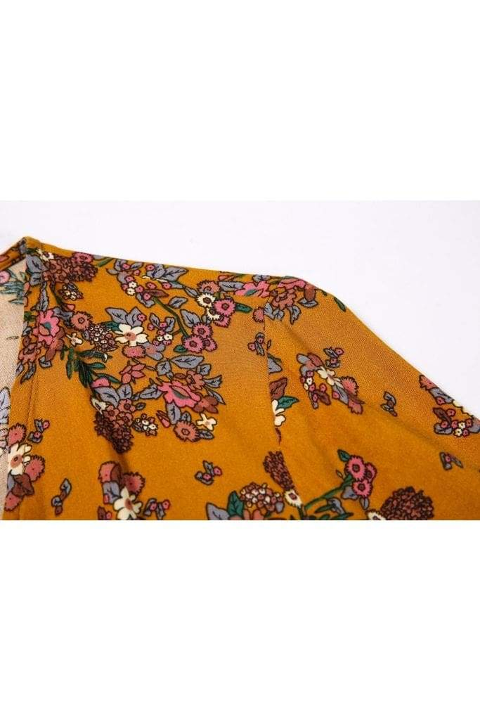 Dark Mustard Yellow Angel Sleeve with Pink Bouquets Wrap Dress Vintage Dress Australia 9352589010798