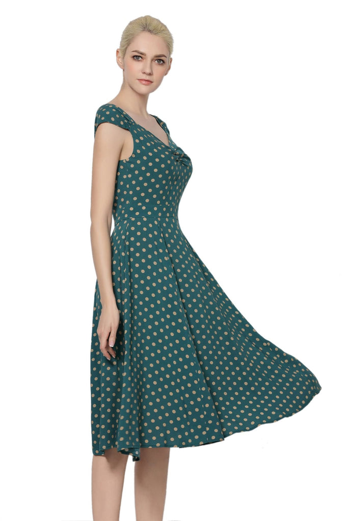 Emerald Green & Beige Polka Dot Sweet Heart Dress Vintage Dress Australia 9352589006579