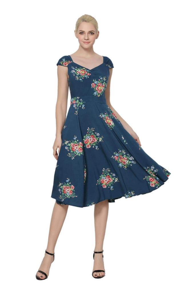 Flower Bouquet Teal Sweet Heart Dress Vintage Dress Australia 9352589006715