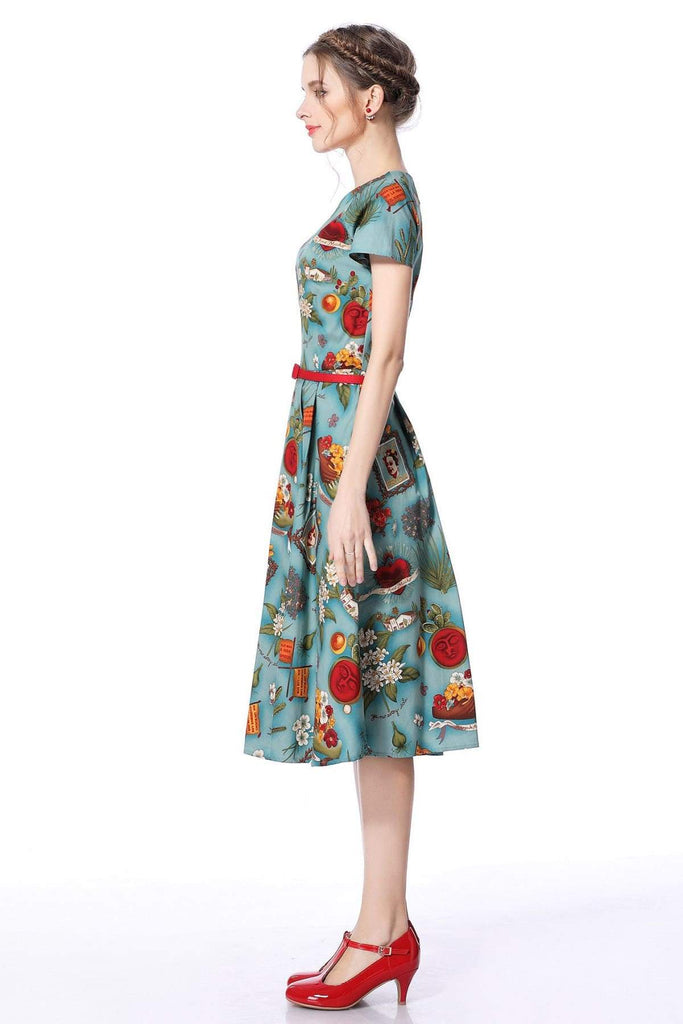 Frida Scoop Neck Sleeve Vintage Dress