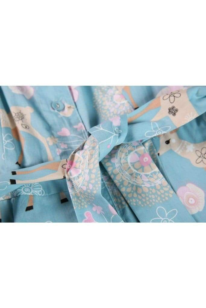 Fun and Cute Blue Reindeer and Dandelion Shirt Dress with Pockets
