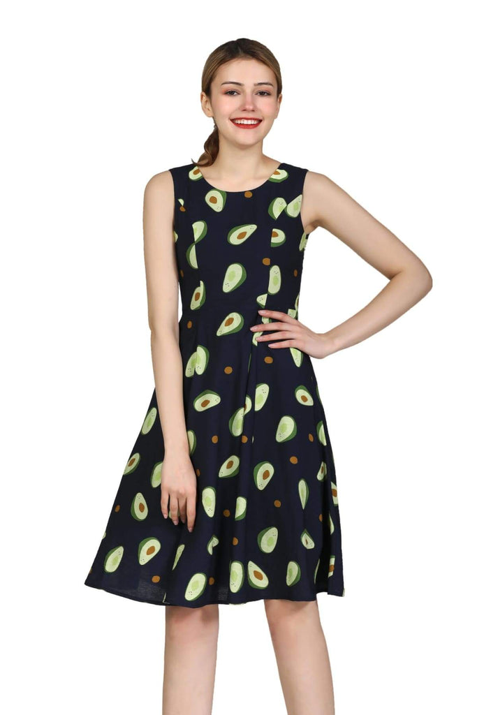 Fun Navy Avocado Scoop Neck A Line Dress with Pockets