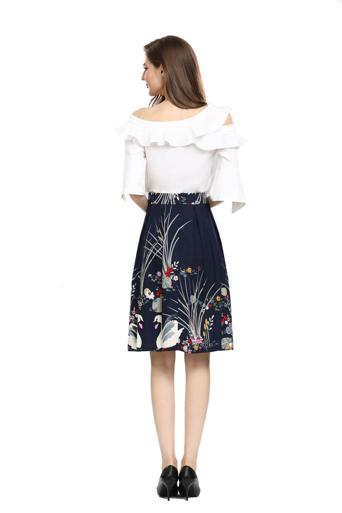 Gorgeous Box Pleated Navy Swan Floating in Pond of Lotus Flowers with Pockets Vintage Dress Australia 9352589009617