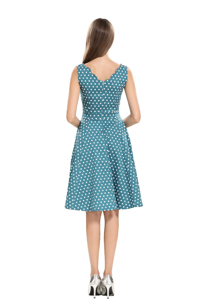 Gorgeous Green and White Polka Dot Scallop Neckline A Line Dress