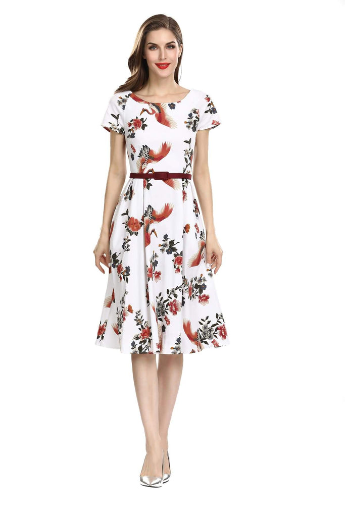 Gorgeous White with Red Crane and Floral Scoop Neck Short Sleeve A-Line Vintage Dress Vintage Dress Australia 9352589009143