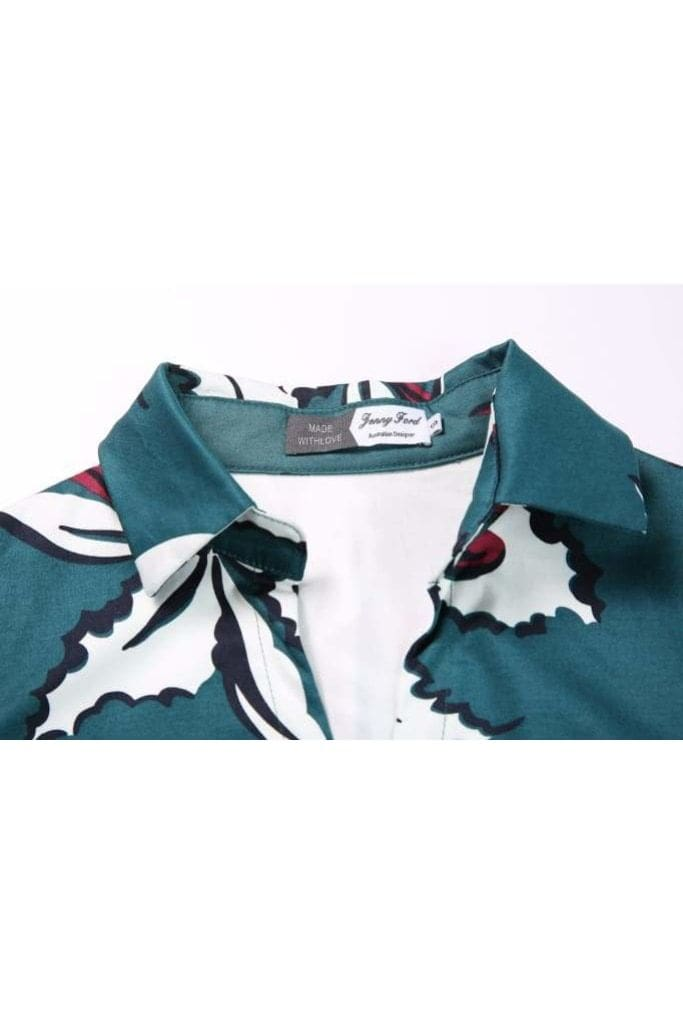 Green V Neck Collared with Sleeves White Hibiscus Vintage Dress