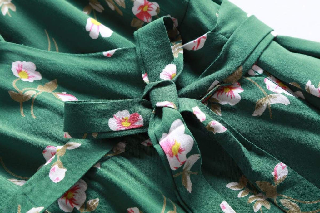 Green Shawl Collared Wrap Dress with Pink and White Petunia Flowers and Pockets