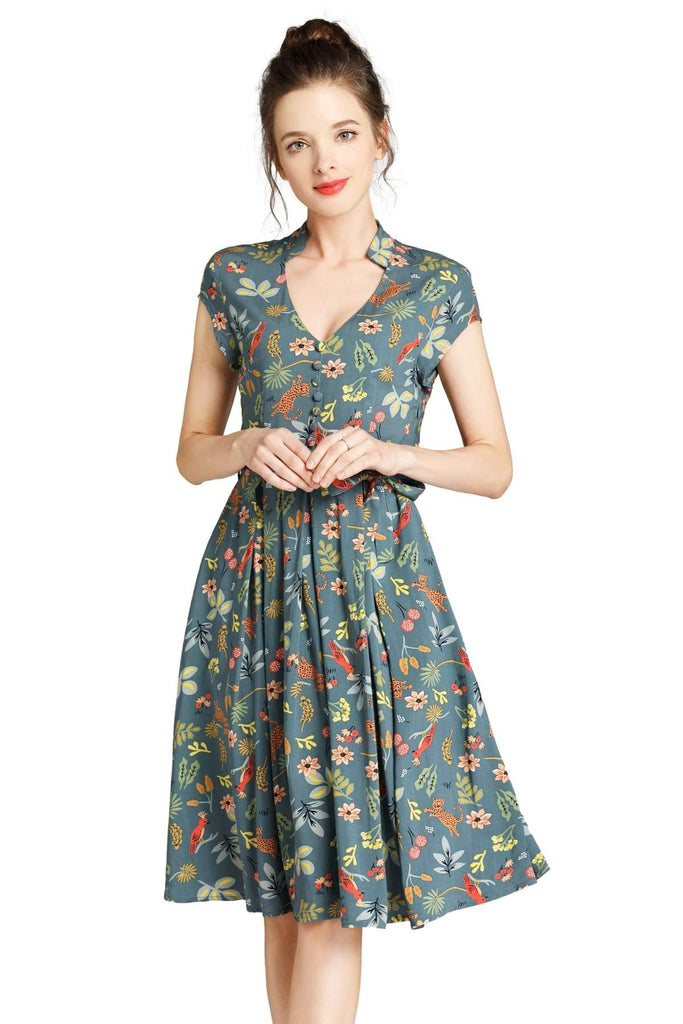 Green Standing Collar V Neck with Fun Forest Leopard and Pink Parrot Pleated Dress with Pockets Vintage Dress Australia 9352589011672