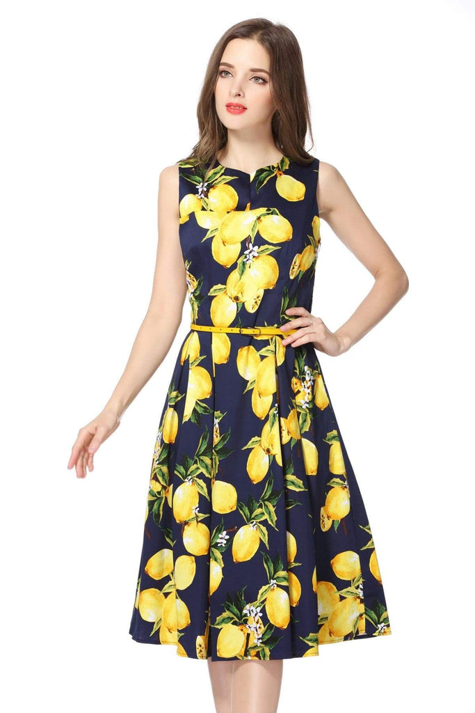 Lemon and Navy V Neck Vintage Cotton Dress Vintage Dress Australia 9352589001888