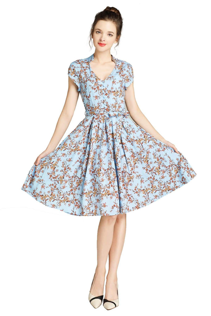 Light Blue Standing Collar V Neck with Orange Blossom Box Pleated Dress with Pockets
