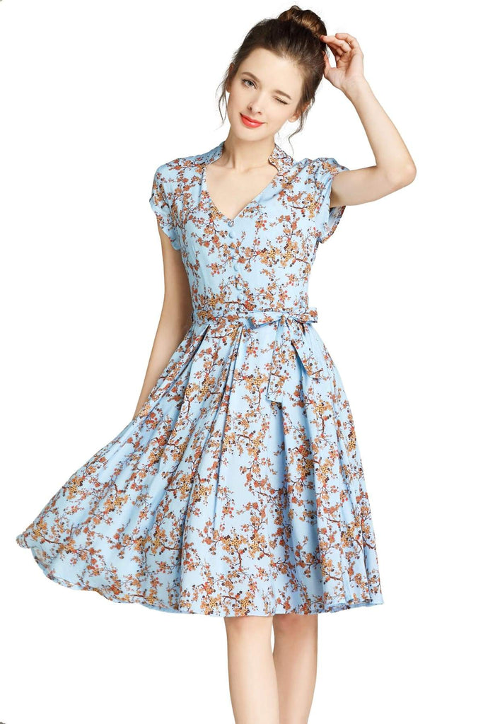 Light Blue Standing Collar V Neck with Orange Blossom Box Pleated Dress with Pockets Vintage Dress Australia 9352589011597