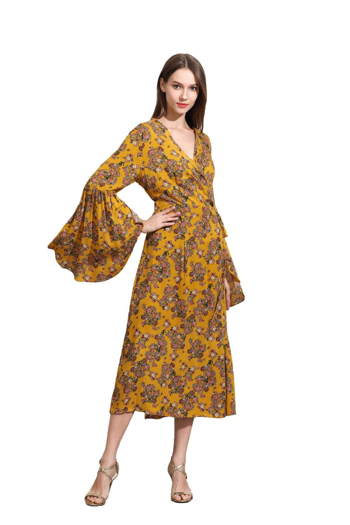 Light Mustard Yellow Angel Sleeve with Pink Bouquets Wrap Dress Vintage Dress Australia 9352589010910