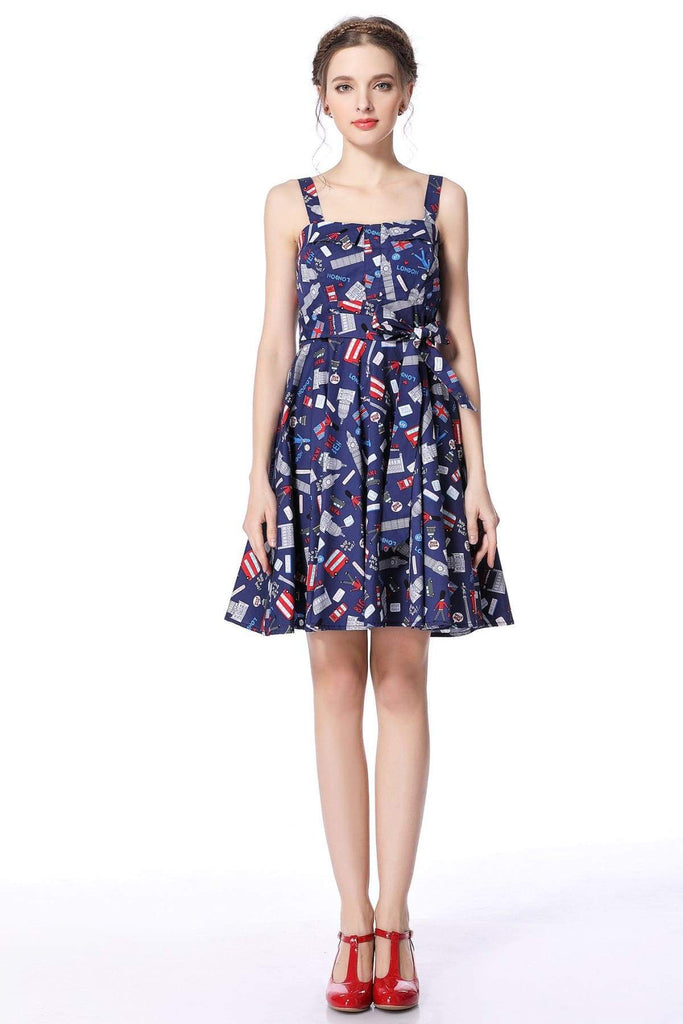 London Print Strap Dress with Pockets