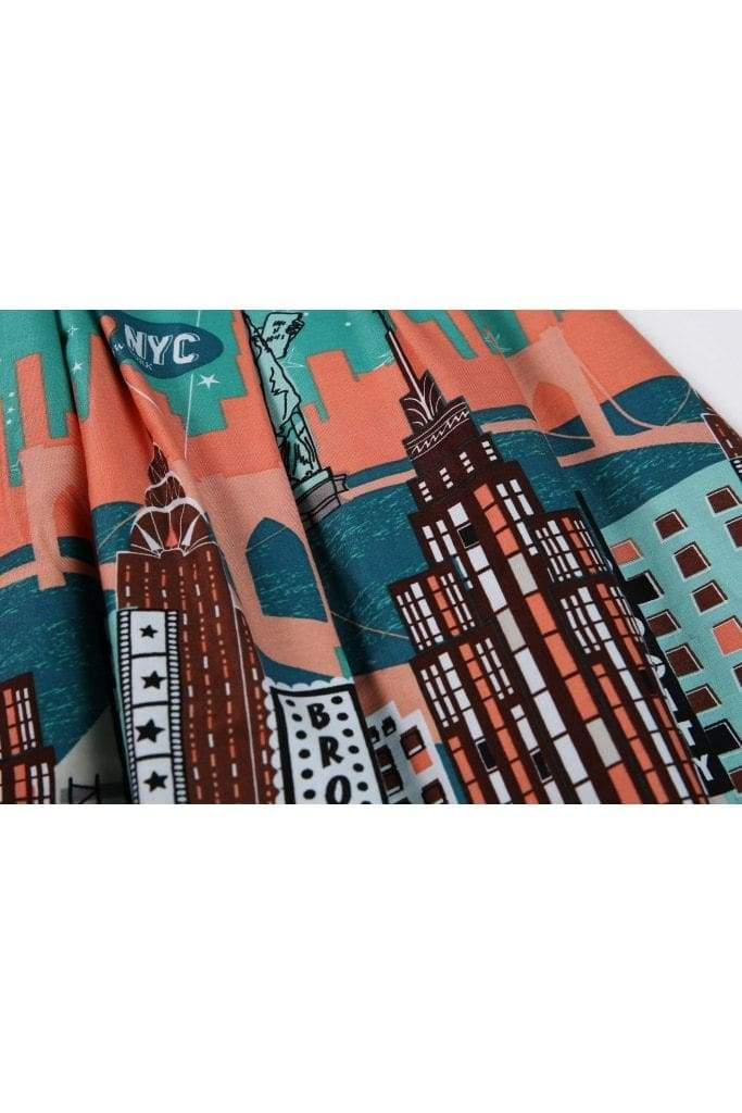 Lovely Green I Love New York Skyscraper Box Pleated Skirt with Pockets