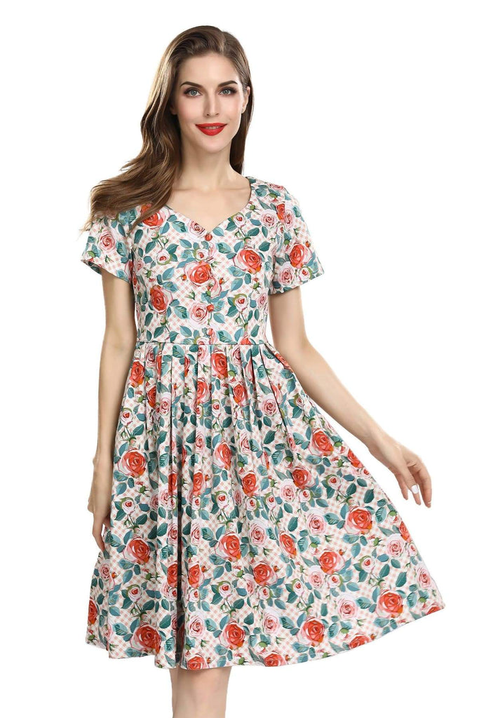Lovely Sweetheart Pleated Vintage Dress with Pink Roses on Pink and White Tartan Short Sleeves Vintage Dress Australia 9352589009389