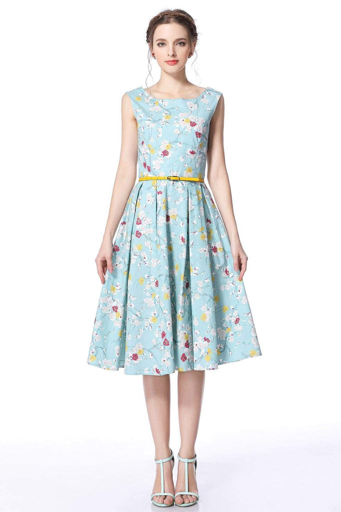 Mint Blossom Boat Neck Vintage Dress