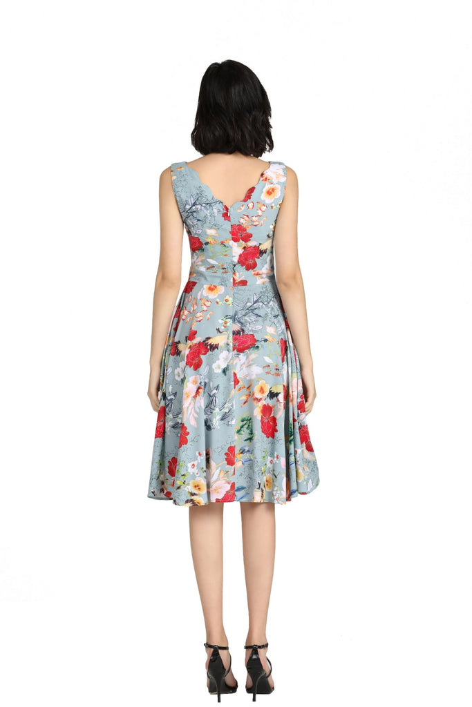 Mint Scallop Neckline with Gorgeous Cranes and Blooming Floral A Line Dress with Pockets