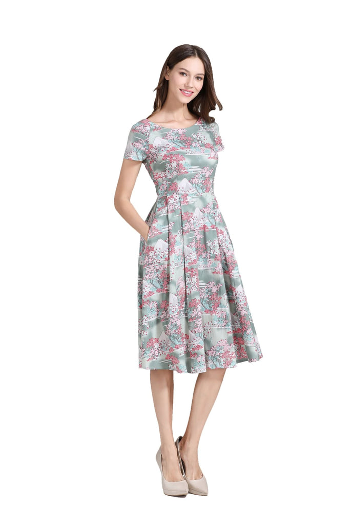 Mount Fuji Pink Cherry Blossom Japanese Vintage Dress
