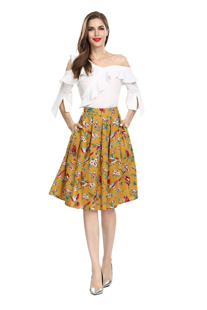 Mustard Yellow Red Bird Floral Box Pleated Skirt With Pockets Vintage Dress Australia 9352589009990