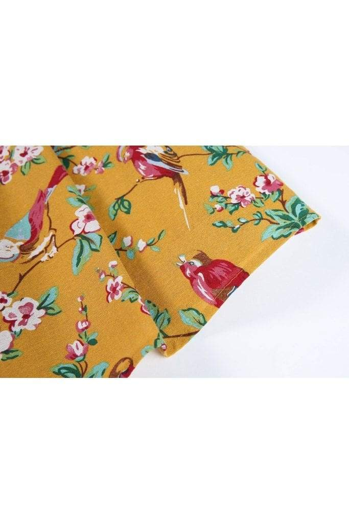 Mustard Yellow Red Bird Floral Box Pleated Skirt With Pockets