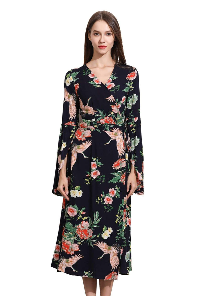 Navy Angel Sleeve with Pink Cranes and Peonies Wrap Dress
