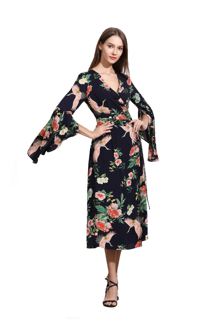 Navy Angel Sleeve with Pink Cranes and Peonies Wrap Dress Vintage Dress Australia 9352589010972