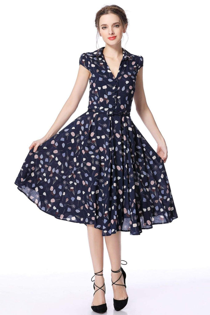 Navy Falling Leaves Vintage Dress Vintage Dress Australia 9352589002663