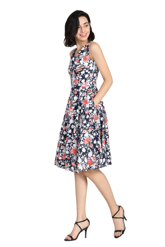 Navy Floral Scallop Neckline A Line Cotton Dress with Pockets