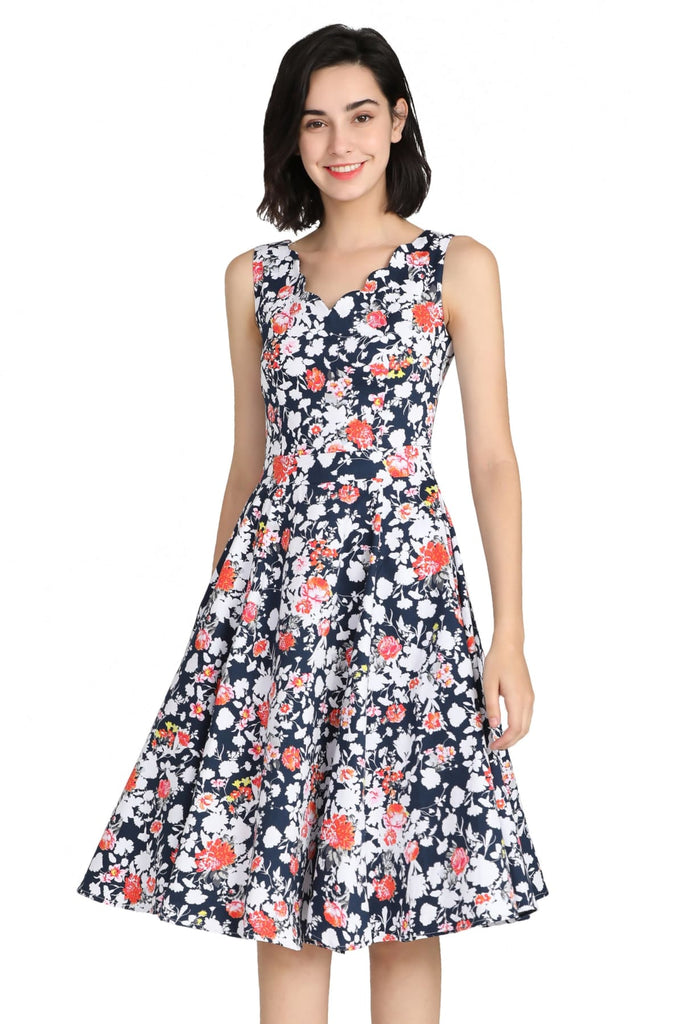 Navy Floral Scallop Neckline A Line Cotton Dress with Pockets Vintage Dress Australia 9352589015069