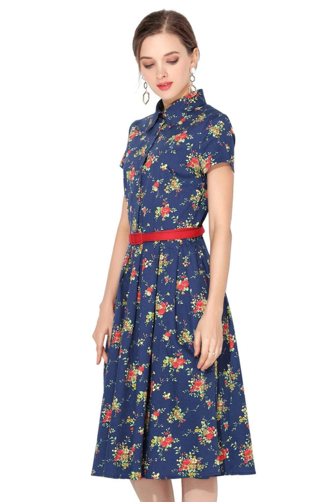 Navy & Flowers Collared Cotton Vintage Dress