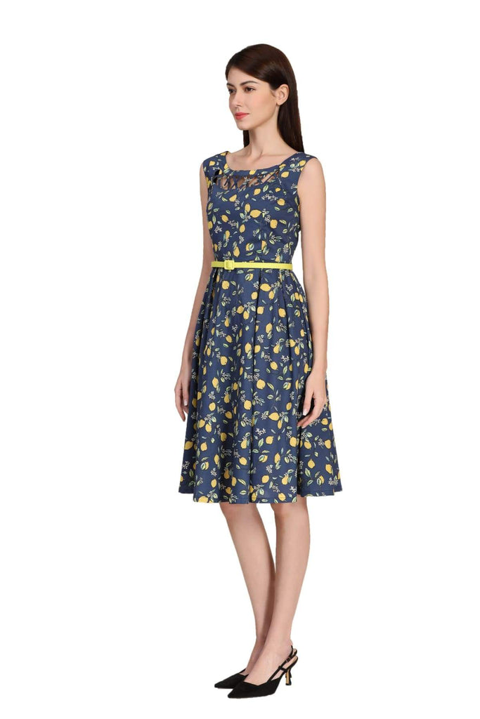 Navy Lemon Scoop Neck Lattice Detail A-Line Cotton Dress with Pockets Vintage Dress Australia 9352589014123