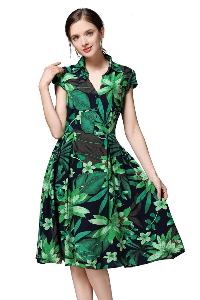 Navy V Neck Box Pleat Dress with Green Tiger Lily and Palm Leaves with Pockets Vintage Dress Australia 9352589011832