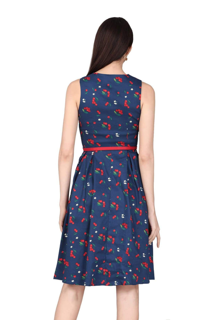 Navy V Neck Cherry with Blossom Flower A-Line Cotton Dress with Pockets