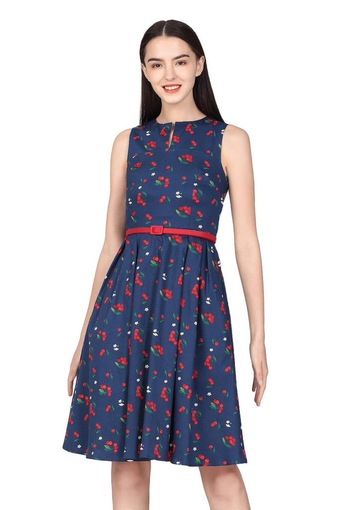 Navy V Neck Cherry with Blossom Flower A-Line Cotton Dress with Pockets Vintage Dress Australia 9352589014499